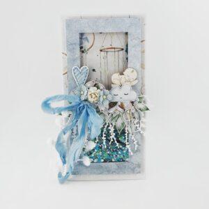 Delikatna kartka z okazji narodzin dziecka. Kartka z gratulacjami dla rodziców. Kartka shaker box od Heartwork.