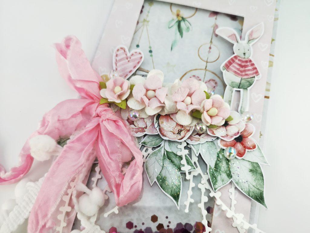 Ręcznie robiona kartka dla dziewczynki. Kartka dla noworodka. Kartka z okazji narodzin, chrztu, urodzin dziecka. Pastelowa kartka handmade.