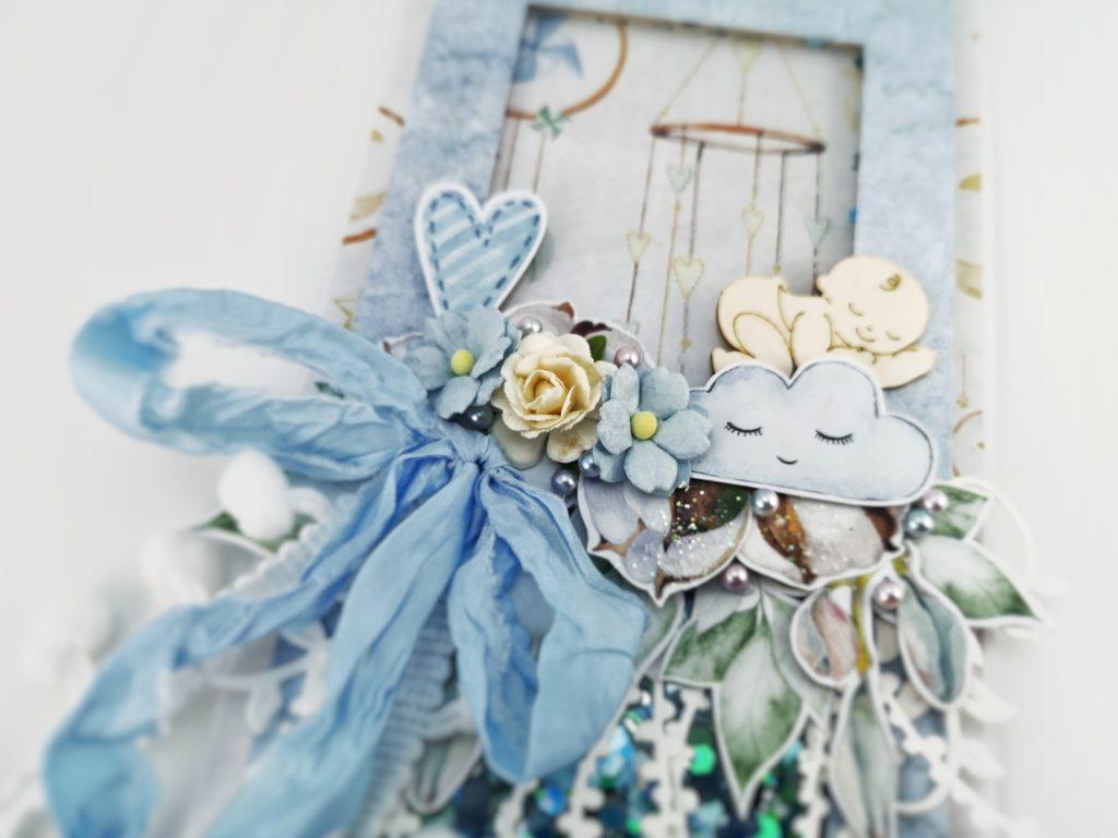 Ręcznie robiona kartka dla chłopca. Niebieska, pastelowa kartka dla noworodka. Kartka z okazji narodzin, chrztu, urodzin dziecka.
