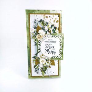 Złoto-zielona kartka dla mamy. Oryginalna, ręcznie robiona kartka na Dzień Matki. Kartki scrapbooking.