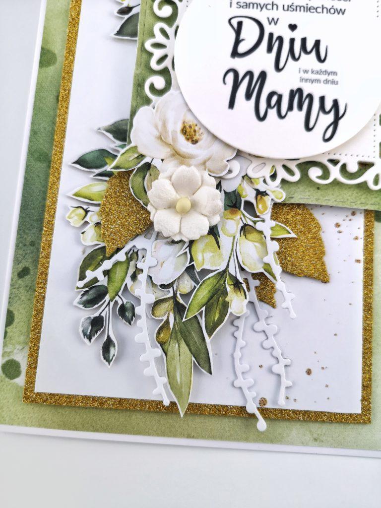 Zielona kartka dla mamy. Ręcznie robiona kartka.
