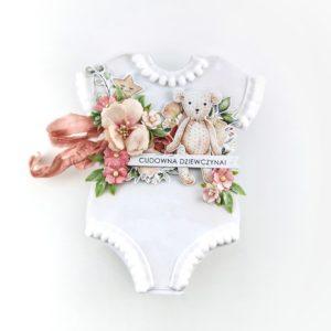 Kartka w kształcie body niemowlęcego. Oryginalna kartka bodziak.