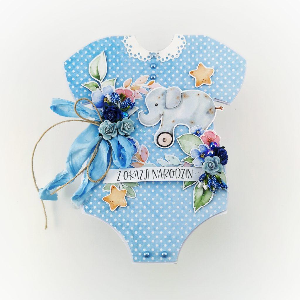 Kartka bodziak. Oryginalna kartka w kształcie niemowlęcego body. Gratulacje z okazji narodzin dziecka.