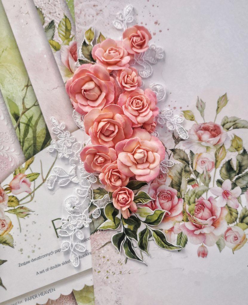 """Ręcznie robione róże z foamiranu. Róże dopasowane do kolekcji """"Różane wino"""" Paper Heaven."""
