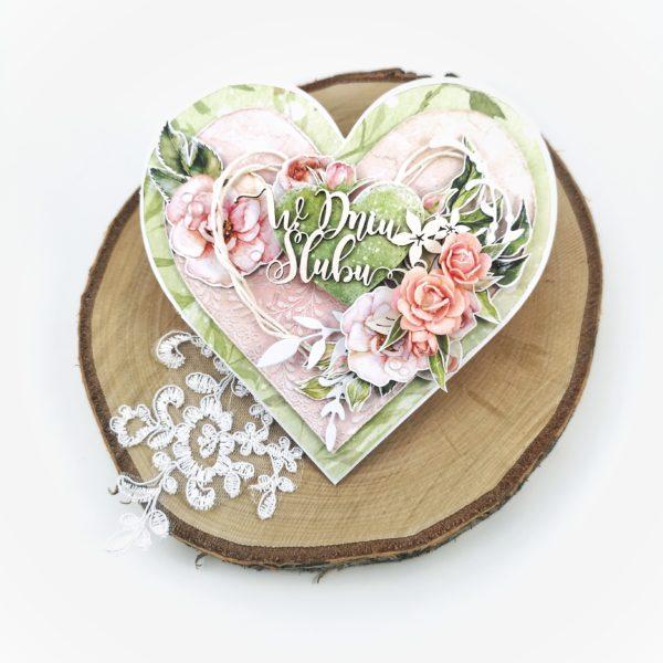 Ręcznie robiona, ślubna kartka serce. Romantyczna kartka na ślub. Oryginalny pomysł na prezent dla Państwa Młodych.