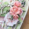 Ręcznie robiona kartka na ślub. Kartka dla nowożeńców. Różowa kartka ślubna z różami z foamiranu.