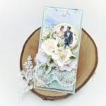 Kartka ślubna ze złoceniami oraz grafikąpary młodej. Ręcznie robiona kartka na ślub, wesele. Oryginalny prezent weselny.